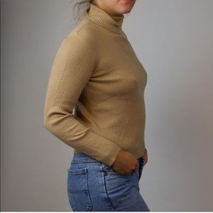 Golden tan microribbed turtleneck sweater